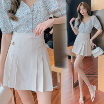 skirt Summer 2021 S,M,L,XL,2XL Apricot, black Short skirt commute High waist A-line skirt Solid color Type A 18-24 years old other polyester fiber Korean version