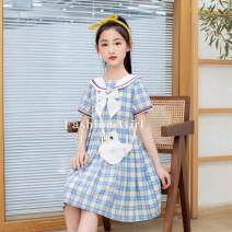 Dress blue female Other / other 110cm,120cm,130cm,140cm Cotton 100% summer literature Short sleeve Solid color cotton A-line skirt Class B 9, 12, 7, 8, 6, 11, 10 Chinese Mainland Shanghai Shanghai