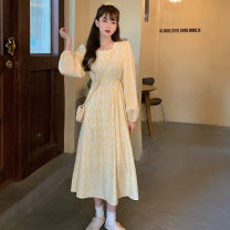 Dress Autumn 2020 canary yellow S,L,M Mid length dress singleton  Sweet Crew neck High waist Broken flowers Socket Big swing routine Others 18-24 years old Type A Splicing 51% (inclusive) - 70% (inclusive) other polyester fiber