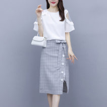 Dress Summer 2020 Picture color S,M,L,XL Middle-skirt Two piece set Short sleeve commute Crew neck High waist Solid color Socket One pace skirt Lotus leaf sleeve Others Type H Korean version Chiffon