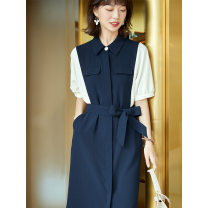 Dress Summer 2021 Navy Blue S,M,L,XL longuette commute V-neck High waist Solid color shirt sleeve 30-34 years old Type H majekoce Pocket stitching strap button contrast More than 95% other