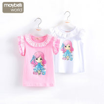 T-shirt 90cm,100cm,110cm,120cm,130cm,140cm,150cm,160cm female No season Short sleeve Crew neck lady No model nothing cotton Cartoon animation Cotton 95% other 5% Class B Sweat absorption Chinese Mainland Sichuan Province Chengdu