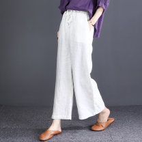 Casual pants M,L,XL Summer 2020 Cropped Trousers Straight pants Natural waist commute Thin money 96% and above hemp literature hemp