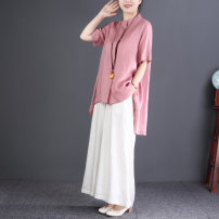shirt M, L Summer 2020 hemp 96% and above Short sleeve commute Medium length stand collar Socket routine Solid color Straight cylinder literature hemp