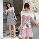 Dress Summer 2020 Black and white, orange and pink XL,2XL,3XL,4XL Mid length dress singleton  Short sleeve Sweet Lotus leaf collar lattice Socket other puff sleeve Others 18-24 years old belt FK406 51% (inclusive) - 70% (inclusive) other