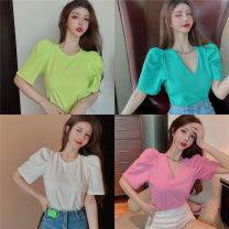 T-shirt White, blue, yellow, pink Average size Summer 2021 Short sleeve V-neck Self cultivation Regular puff sleeve commute other 30% and below 18-24 years old Korean version
