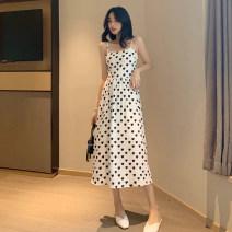 Dress Summer 2021 White, black Average size Miniskirt singleton  Sleeveless commute High waist Socket camisole Type A Korean version