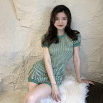 Dress Summer 2021 green Average size Short skirt singleton  Short sleeve commute Crew neck High waist routine Others 18-24 years old Korean version XL