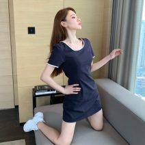 Dress Summer 2021 Short skirt singleton  Short sleeve commute square neck 18-24 years old szz Korean version One size fits all