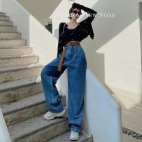 Jeans Spring 2021 Jeans, belts S. M, l, average size trousers High waist Wide legged trousers 18-24 years old fold