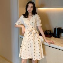Dress Summer 2021 Graph color Average size Mid length dress singleton  Short sleeve commute V-neck Dot Socket A-line skirt routine 18-24 years old Type A Korean version