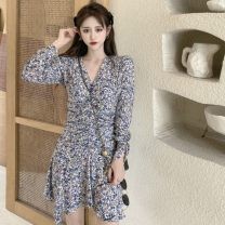 Dress Spring 2021 Picture color S, M singleton  Long sleeves commute V-neck High waist 18-24 years old Type A Korean version