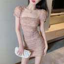 Dress Summer 2021 Graph color S,M,L Middle-skirt singleton  Short sleeve commute square neck High waist puff sleeve 18-24 years old Korean version