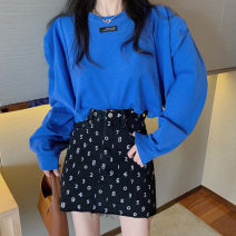 Fashion suit Spring 2021 S. M, l, average size Blue sweater 9549, digital print skirt 9550 18-25 years old
