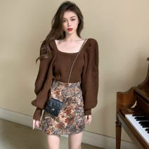 Fashion suit Spring 2021 S. M, l, average size Brown sweater, painted skirt 18-25 years old