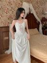 Dress Summer 2021 white S, M Mid length dress singleton  Sleeveless commute V-neck High waist camisole 18-24 years old Korean version Stitching, zipper, lace HB