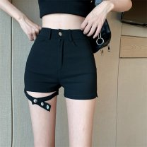 Jeans Spring 2021 black S,M,L shorts High waist Straight pants routine 18-24 years old Dark color