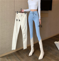 Jeans Spring 2021 Light blue, off white S,M,L Ninth pants High waist Pencil pants routine 18-24 years old zipper