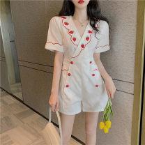 Dress Summer 2021 Dress, Jumpsuit S, M Short skirt singleton  Short sleeve commute V-neck 18-24 years old Korean version