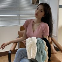 Wool knitwear Summer 2021 Average size Apricot, light blue, white, black, skin pink Short sleeve singleton  Socket other 30% and below have cash less than that is registered in the accounts commute Self cultivation V-neck routine Korean version