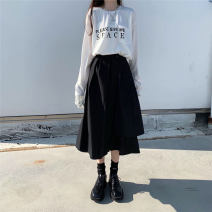 skirt Autumn of 2019 Medium length skirt High waist Irregular commute More than 95% Pocket, button Solid color cotton 18-24 years old Type A Other / other Retro One size fits all White, black