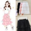 skirt 110, 120, 130, 140, 150, 160, 170 Black, white, pink, cartoon smiley T-shirt + white cake skirt, cartoon smiley T-shirt + black cake skirt, white leaf T-shirt + pink cake skirt Other / other female Other 100% summer skirt princess Solid color Cake skirt cotton Cake dress Class B