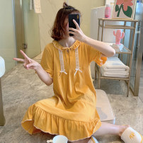Nightdress Xiaomengmeng's appointment 16-68805 white ribbon yellow 160(M),165(L),170(XL) Simplicity Short sleeve Living clothes Middle-skirt summer Solid color youth Crew neck cotton lace More than 95% pure cotton 16-68805 200g and below