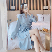 Nightgown / bathrobe Xiaomengmeng's appointment female 160(M),165(L),170(XL) routine Simplicity cotton autumn More than 95% Medium length (knee to Mid Calf) cotton Solid color youth 18-886LA 200g and below