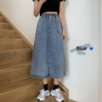 skirt Summer 2021 S,M,L,XL,2XL,3XL blue Mid length dress commute High waist A-line skirt Solid color Type A 18-24 years old 30% and below other other Korean version