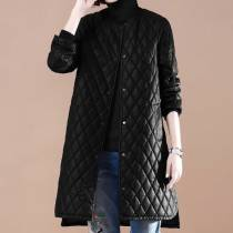 leather clothing Winter 2017 black M L XL Other/others Long section Loose Long sleeve other Commuting Round neck conventional Washed leather Button PU 81% (inclusive) -90% (inclusive)