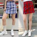 skirt Summer 2020 XS,S,M Red, blue purple Short skirt High waist A-line skirt lattice Type A More than 95% polyester fiber