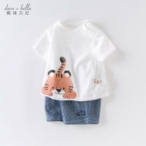 suit DAVE&BELLA White [spot] white - pre-sale white - pre-sale 1 66cm 73cm 80cm 90cm 100cm 110cm 120cm 130cm male summer Short sleeve + pants 2 pieces Thin money There are models in the real shooting Socket nothing Cartoon animation cotton DB13145 Other 100% Summer 2021