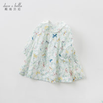Dress White background printing [spot] white background printing - pre sale female DAVE&BELLA Cotton 100% spring and autumn Europe and America Long sleeves Broken flowers cotton A-line skirt DB10223 Class A Autumn 2020