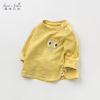 T-shirt Yellow [spot] yellow - pre sale DAVE&BELLA male spring and autumn Long sleeves Crew neck Europe and America There are models in the real shooting nothing other Cartoon animation Other 100% Class A Winter of 2019