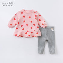 suit DAVE&BELLA Love printing [spot] love printing - pre sale 66cm 73cm 80cm 90cm 100cm 110cm 120cm 130cm female spring and autumn Europe and America Long sleeve + pants 2 pieces routine Socket nothing other other DB14845 Other 100% Spring 2021