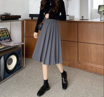 skirt Winter 2020 M,L,XL,2XL,3XL,4XL Gray, black longuette commute High waist A-line skirt Solid color Type A 18-24 years old 91% (inclusive) - 95% (inclusive) other polyester fiber fold Korean version