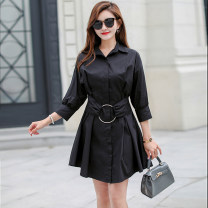 Dress Spring 2021 White, black Mid length dress singleton  Long sleeves commute Polo collar High waist Solid color Socket other other Others 25-29 years old Type A Korean version More than 95% brocade cotton