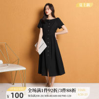 Dress Summer 2020 black 155/S 160/M 165/L 170/XL Mid length dress Short sleeve One word collar A-line skirt routine 25-29 years old One-t / Rabbit More than 95% polyester fiber Polyester 100% Pure e-commerce (online only)