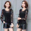 Lace / Chiffon Autumn of 2019 Black, black plush S,M,L,XL,2XL,3XL,4XL Long sleeves commute Socket singleton  easy Regular Crew neck Solid color puff sleeve 35-39 years old Inlaid diamond, embroidery, fold, stitching, mesh, lace Korean version 51% (inclusive) - 70% (inclusive) nylon