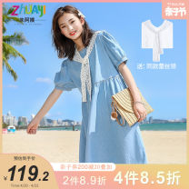 Dress Blue [in stock] female Aunt Zhu 140cm 150cm 160cm 170cm 175cm Other 100% summer lady Short sleeve Solid color other A-line skirt Class B Summer 2021 8 years old, 9 years old, 10 years old, 11 years old, 12 years old, 13 years old, 14 years old Chinese Mainland