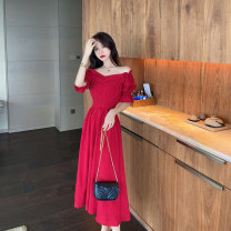 Dress Summer 2021 Black, red S,M,L Mid length dress singleton  Short sleeve commute square neck High waist Solid color zipper Big swing Lotus leaf sleeve Others 25-29 years old Type A lady fold wh9573988 81% (inclusive) - 90% (inclusive) other