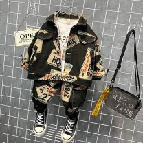 suit Other / other Black, blue 90cm,100cm,110cm,120cm,130cm,140cm male spring and autumn Korean version Long sleeve + pants 2 pieces routine No model Single breasted nothing Cartoon animation Denim children Expression of love Class B Two, three, four, five, six, seven, eight, nine