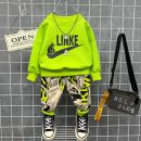 suit Other / other Yellow, green male spring and autumn leisure time Long sleeve + pants 2 pieces routine No model Socket nothing Cartoon animation cotton children Expression of love Class B Two, three, four, five, six, seven, eight, nine