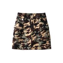 skirt Autumn 2020 XS,S,M,L camouflage Short skirt street High waist A-line skirt Type A 25-29 years old Mln camouflage skirt 1091055 pocket