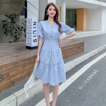 Dress Summer 2021 Blue grid, yellow grid S,M,L,XL Miniskirt singleton  Short sleeve Sweet V-neck middle-waisted Solid color Socket other routine Others 25-29 years old Type A Splicing 81% (inclusive) - 90% (inclusive) brocade other Ruili
