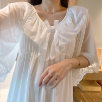 Nightdress Other / other S,M,L,XL sexy Short sleeve pajamas longuette summer Solid color youth V-neck cotton lace More than 95% pure cotton 722 short sleeve skirt 200g and below
