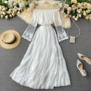 Square Dance Dress M, L white elbow sleeve 18-24 years old Solid color routine Middle-skirt High waist other