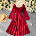 Square Dance Dress S,M,L Black, green, dark gray, red Long sleeves 18-24 years old Solid color puff sleeve Middle-skirt High waist other