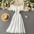 Square Dance Dress S,M,L white Short sleeve 18-24 years old Solid color puff sleeve Middle-skirt High waist other
