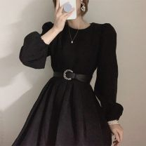 Dress Spring 2021 Off white, black Average size longuette singleton  Long sleeves commute Crew neck High waist 18-24 years old Other / other Korean version 51% (inclusive) - 70% (inclusive) cotton